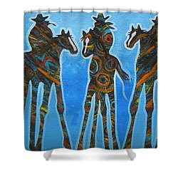 Three In The Blue Shower Curtain by Lance Headlee