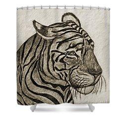 Tiger Iv Shower Curtain by Debbie Portwood