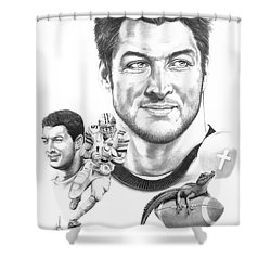 Tim Tebow-tim Tebow Shower Curtain by Murphy Elliott
