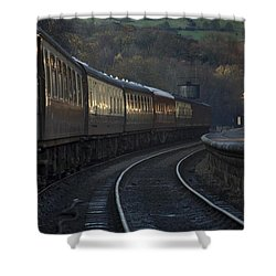 Train At Station At Dusk, Pickering Shower Curtain by John Short