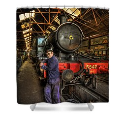 Train Of Thoughts Shower Curtain by Evelina Kremsdorf