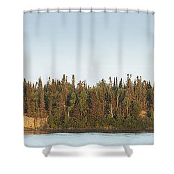 Trees Covering An Island On Lake Shower Curtain by Susan Dykstra