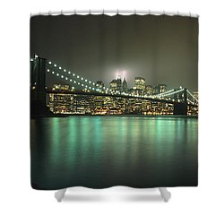 Tribute In Light, Lower Manhattan On Shower Curtain by Axiom Photographic