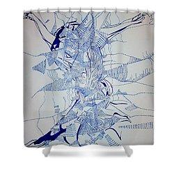 Triple Jump Shower Curtain by Gloria Ssali