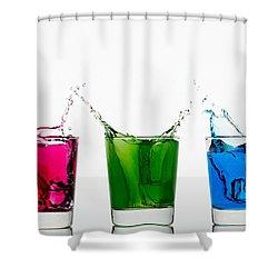 Triptych - Rgb Shower Curtain by Gert Lavsen