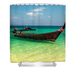 Tropical Boat Shower Curtain by Adrian Evans