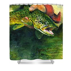 Trout In Hand Shower Curtain by John D Benson