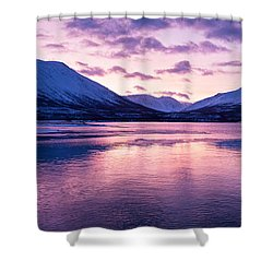 Twilight Above A Fjord In Norway With Beautifully Colors Shower Curtain by Ulrich Schade