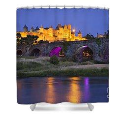 Twilight Over Carcassonne Shower Curtain by Brian Jannsen
