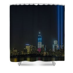 Twin Lights Shower Curtain by Susan Candelario