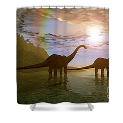 Two Diplodocus Dinosaurs Wade Shower Curtain by Corey Ford