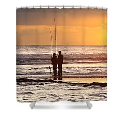 Two Fisherman Shower Curtain by Carlos Caetano