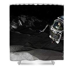 Two Manned Maneuvering Vehicles Explore Shower Curtain by Walter Myers
