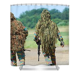 Two Snipers Of The Belgian Army Dressed Shower Curtain by Luc De Jaeger