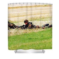 Two Soldiers Of The Belgian Army Shower Curtain by Luc De Jaeger