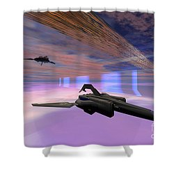 Two Starships Warp Along Space Enegy Shower Curtain by Corey Ford