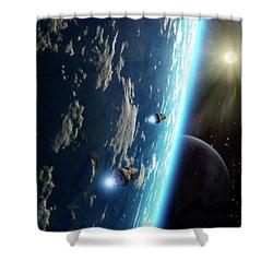 Two Survey Craft Orbit A Terrestrial Shower Curtain by Brian Christensen