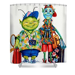 Two Tourists True Shower Curtain by Hanne Lore Koehler