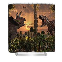 Tyrannosaurus Rex And Triceratops Meet Shower Curtain by Mark Stevenson