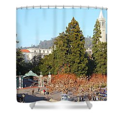 Uc Berkeley . Sproul Plaza . Sather Gate And Sather Tower Campanile . 7d10015 Shower Curtain by Wingsdomain Art and Photography