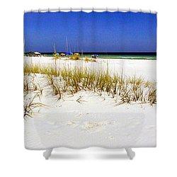 Umbrellas On The Beach Shower Curtain by Judi Bagwell