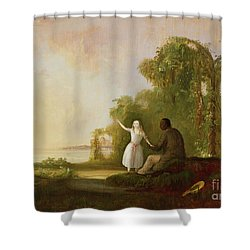 Uncle Tom And Little Eva Shower Curtain by Robert Scott Duncanson