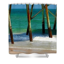 Under The Boardwalk Shower Curtain by Judi Bagwell