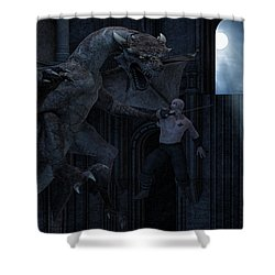 Under The Moonlight Shower Curtain by Lourry Legarde