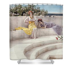 Under The Roof Of Blue Ionian Weather Shower Curtain by Sir Lawrence Alma-Tadema
