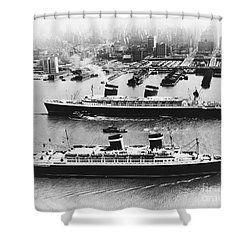 United States Lines Ships Shower Curtain by Photo Researchers