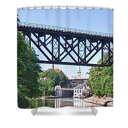 Upside-down Railroad Bridge Shower Curtain by Guy Whiteley