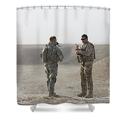 U.s. Army Soldier And German Soldier Shower Curtain by Terry Moore