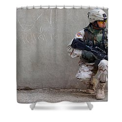 U.s. Army Soldier Armed With A 5.56mm Shower Curtain by Stocktrek Images