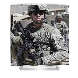 U.s. Army Soldier Conducts A Combat Shower Curtain by Stocktrek Images