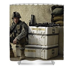 U.s. Army Soldier Relaxing Before Going Shower Curtain by Stocktrek Images