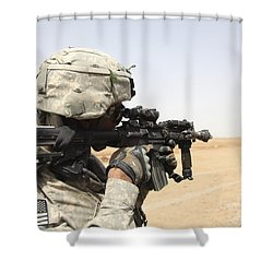 U.s. Army Soldier Scans The Horizon Shower Curtain by Stocktrek Images