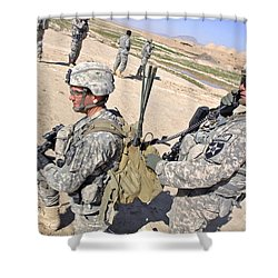 U.s. Army Soldiers Call In An Update Shower Curtain by Stocktrek Images