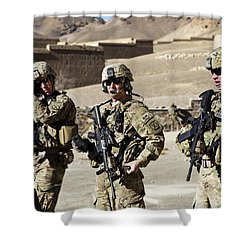 U.s. Army Soldiers Coordinate Security Shower Curtain by Stocktrek Images