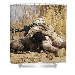U.s. Marine And A Military Working Dog Shower Curtain by Stocktrek Images
