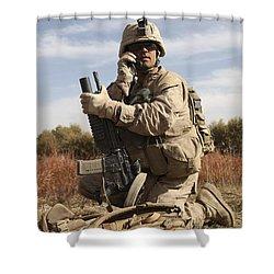 U.s. Marine Communicates Shower Curtain by Stocktrek Images
