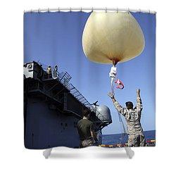 U.s. Marines Launch A Combat Skysat Shower Curtain by Stocktrek Images