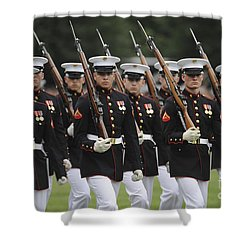 U.s. Marines March By During The Pass Shower Curtain by Stocktrek Images