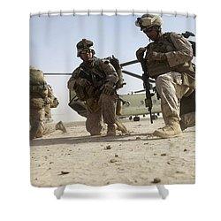 U.s. Marines Unloading Shower Curtain by Stocktrek Images