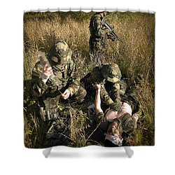 U.s. Navy Seals Give First Aid Shower Curtain by Tom Weber