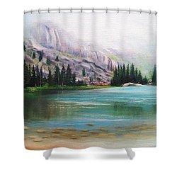 Veil Over Elk Lake Shower Curtain by Patti Gordon