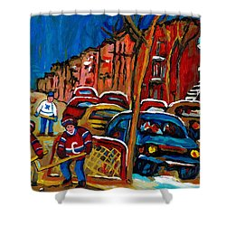 Verdun Rowhouses With Hockey - Paintings Of Verdun Montreal Street Scenes In Winter Shower Curtain by Carole Spandau