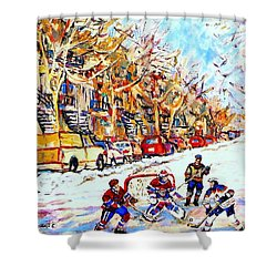 Verdun Street Hockey Game Goalie Makes The Save Classic Montreal Winter Scene Shower Curtain by Carole Spandau