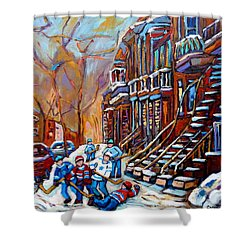 Verdun Street Scene Hockey Game Near Winding Staircases Vintage Montreal City Scene Shower Curtain by Carole Spandau