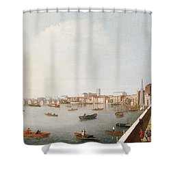 View Of The River Thames From The Adelphi Terrace  Shower Curtain by William James
