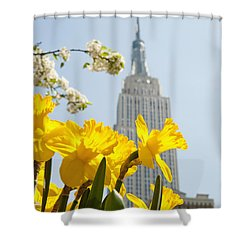 Views Of The Empire State Building And Shower Curtain by Axiom Photographic